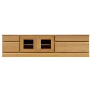 2段ローボード/テレビ台 【幅150cm】 木製 扉収納付き 日本製 ナチュラル 【完成品】
