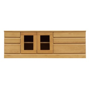 3段ローボード/テレビ台 【幅150cm】 木製 扉収納付き 日本製 ナチュラル 【完成品】