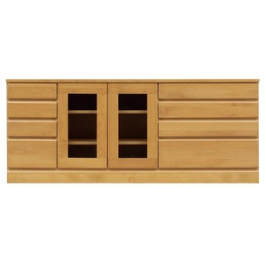 4段ローボード/テレビ台 【幅150cm:42型〜65型対応】 木製 扉収納付き 日本製 ナチュラル 【完成品】