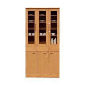 ダイニングボード(食器棚/キッチン収納) 【幅90cm】 木製 ガラス扉 日本製 ナチュラル 【MORRIS】モーリス 【完成品】