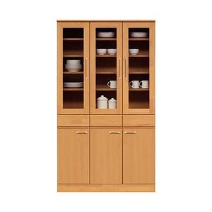 ダイニングボード(食器棚/キッチン収納) 【幅105cm】 木製 ガラス扉 日本製 ナチュラル 【MORRIS】モーリス 【完成品】