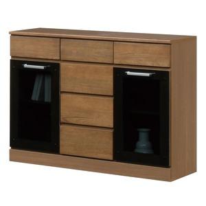 キャビネットB(サイドボード/キッチン収納) 【幅111cm】 木製 ガラス扉付き 日本製 ブラウン 【Angel】エンジェル 【完成品】