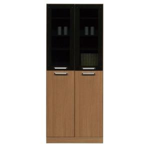 フリーボード(キャビネット/キッチン収納) 【幅74cm】 木製 ガラス扉/可動棚付き 日本製 ブラウン 【Angel】エンジェル 【完成品】