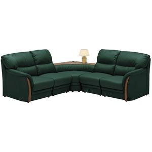 コーナーソファーセット 5点(コンセント付き) 材質:合成皮革(合皮) 肘付き グリーン(緑) 【完成品 開梱設置】