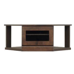 2段コーナー家具/リビングボード 【幅75cm】 木製(天然木) 扉収納付き 日本製 ダークブラウン 【完成品】