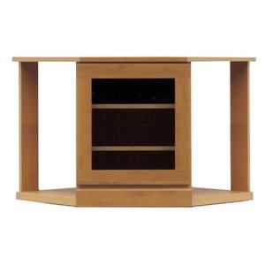 4段コーナー家具/リビングボード 【幅75cm】 木製(天然木) 扉収納付き 日本製 ブラウン 【完成品】