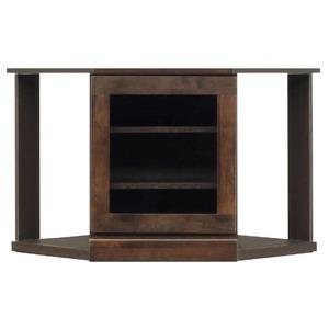 4段コーナー家具/リビングボード 【幅75cm】 木製(天然木) 扉収納付き 日本製 ダークブラウン 【完成品】