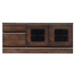 2段ローボード/テレビ台 【幅90cm:26型〜40型対応】 木製 扉収納付き 日本製 ダークブラウン 【完成品】