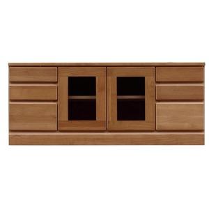 3段ローボード/テレビ台 【幅120cm:37型〜52型対応】 木製 扉収納付き 日本製 ブラウン 【完成品】