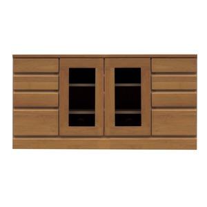 4段ローボード/テレビ台 【幅120cm:37型〜52型対応】 木製 扉収納付き 日本製 ブラウン 【完成品】