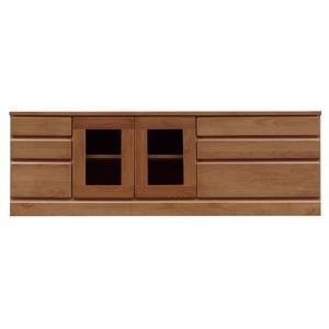 3段ローボード/テレビ台 【幅150cm:42型〜65型対応】 木製 扉収納付き 日本製 ブラウン 【完成品】