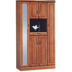 ハイシューズボックス(下駄箱) 幅100cm×奥行40cm×高さ180cm 木製 棚板付き 日本製 ブラウン 【Horizon3】ホライゾン3 【完成品】 - 拡大画像