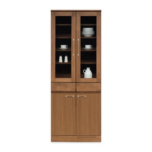 ダイニングボード(食器棚/キッチン収納) 【幅70cm】 木製 ガラス扉 日本製 ブラウン 【MORRIS】モーリス 【完成品】