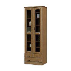 フリーボード(リビングボード/収納棚) 【幅60cm】 木製 /ガラス扉 日本製 ブラウン 【Rebuck3】レバック3 【完成品】