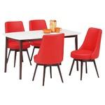 ダイニングセット 5点 ダイニングテーブル(ホワイト/白天板)&チェア(レッド/赤)4点 木製 【ROYCE】ロイズ 【組立品】