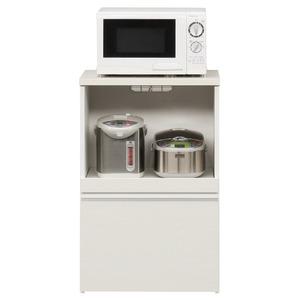 キッチンカウンター 幅60cm 二口コンセント/スライドテーブル/引き出し付き 日本製 ホワイト(白) 【完成品】【開梱設置】