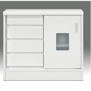 マルチキャビネット(収納棚/キッチン収納) 幅80cm×奥行30cm 引き戸/引き出し収納付き 『ランク』 背面化粧