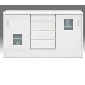 マルチキャビネット(収納棚/キッチン収納) 幅120cm×奥行30cm 引き戸/引き出し収納付き 『ランク』 背面化粧