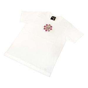 戦国武将Tシャツ 【上杉謙信 毘】 Lサイズ 半袖 綿100% ホワイト(白) 〔Uネック おもしろ〕 - 拡大画像