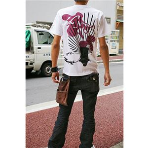 戦国武将Tシャツ 【豊臣秀吉 馬蘭後立付兜】 Lサイズ 半袖 綿100% ホワイト(白) 〔Uネック おもしろ〕 - 拡大画像