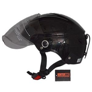 スタイリッシュな開閉式シールド付きハーフヘルメットメタル ブラック - 拡大画像