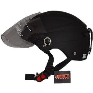 スタイリッシュな開閉式シールド付きハーフヘルメット マットブラック - 拡大画像
