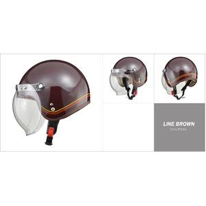 レディース NOVIA(ノービア) バブルシールド付スモールロージェットヘルメット ラインブラウン - 拡大画像