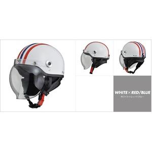 CR-760 ハーフヘルメット ホワイト×レッド/ブル—
