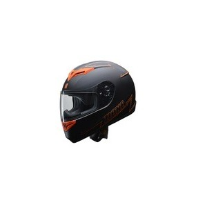人気のマットブラック ZIONE(ジオーネ) フルフェイスヘルメット オレンジ LLサイズ - 拡大画像