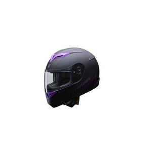 人気のマットブラック ZIONE(ジオーネ) フルフェイスヘルメット パープル LLサイズ - 拡大画像