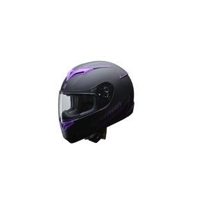 人気のマットブラック ZIONE(ジオーネ) フルフェイスヘルメット パープル Lサイズ - 拡大画像