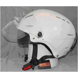 サングラスタイプ インナーシールド装備 開閉式シールド付きハーフヘルメット パールホワイト - 拡大画像