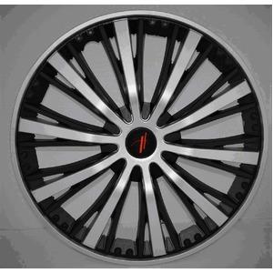 重厚感バツグンのブラッシュタイプ ホイールカバー ブラック&シルバー 13インチ 4枚セット - 拡大画像