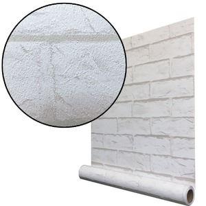 【6m巻】リメイクシート シール壁紙 プレミアムウォールデコシートR-WA101 レンガ 3D豪華 白系