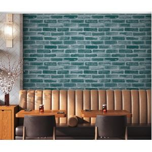 【6m巻】リメイクシート 壁紙シール/プレミアムウォールデコシート R-WA120 レンガ ブルー系 - 拡大画像