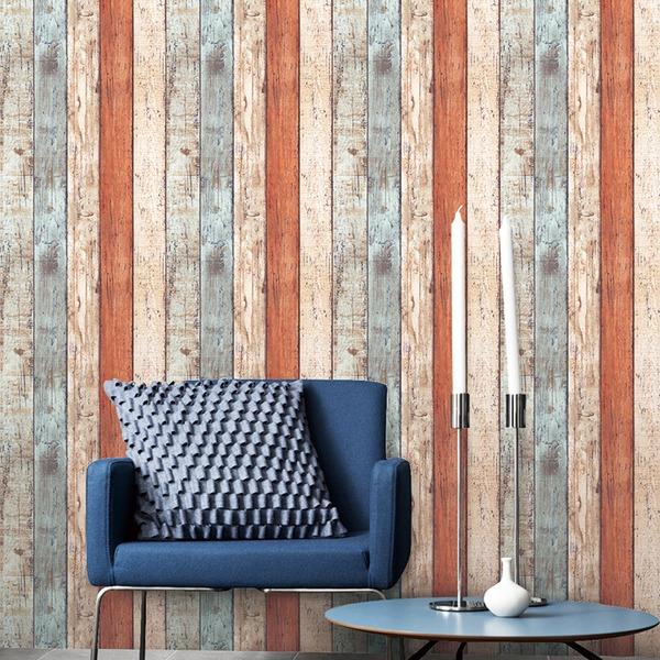 貼ってはがせる壁紙シールプレミアムウォールデコシート/DIY壁紙シール 【6m巻】 W-WA305 ウッド ヴィンテージ カラフル系