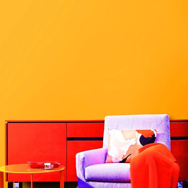 【WAGIC】(6m巻)リメイクシート 壁紙シール プレミアムウォールデコシートC-WA208 北欧カラー無地(石目調) オレンジ
