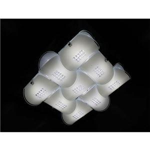 シーリングライト(照明器具) LEDタイプ/3700ルーメン 自然光色 幾何学模様風 ガラス使用 〔リビング照明/ダイニング照明〕【電球付き】