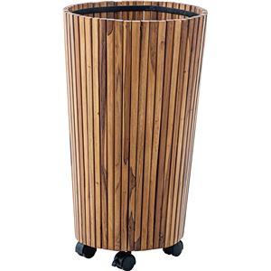 ウッドプランター/植木鉢 2個セット 【L 直径39cm×高さ65cm】 木製 キャスター付き 〔ガーデニング用品 園芸用品〕 - 拡大画像