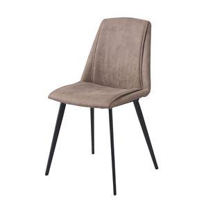 ダイニングチェア/食卓椅子 【2脚セット ライトグレー】 幅47cm スチール ポリエステル 組立品 〔リビング〕 - 拡大画像