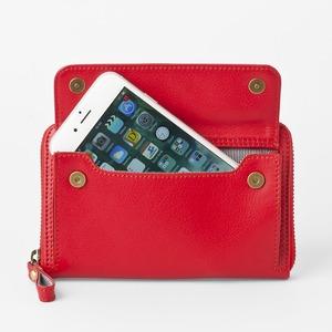 [スモールタイプ・タンジェリンレッド] スマホ入れ、お財布になるスマホウォレット iPhone5/6など小さいスマホ向け / スイス発カーフレザー多機能お財布 - 拡大画像