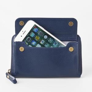 [スモールタイプ・マリンブルー] スマホ入れ、お財布になるスマホウォレット iPhone5/6など小さいスマホ向け / スイス発カーフレザー多機能お財布 - 拡大画像