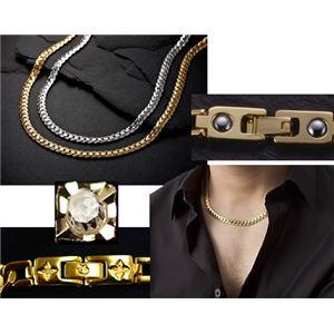 PV 天然ダイヤモンド磁気ネックレス ゴールド Lサイズ - 拡大画像