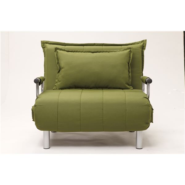 折りたたみソファーベッド/カウチソファー 【シングルサイズ】 肘付き 6段階リクライニング 抹茶グリーン