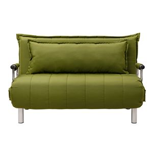 折りたたみソファーベッド/カウチソファー 【セミダブルサイズ】 抹茶グリーン   肘付き 6段階リクライニング