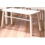 ダイニングベンチチェア(スツール) 木製 幅90cm ブラッシング加工   ホワイト(白)