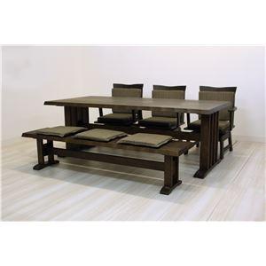 【単品】和風ダイニングテーブル/リビングテーブル 【長方形 幅190cm】 木製 ブラッシング加工   ダークブラウン