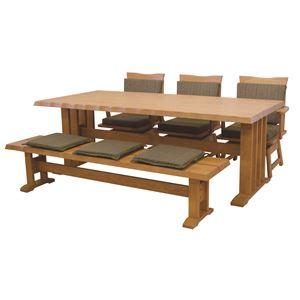 【単品】和風ダイニングテーブル/リビングテーブル 【長方形 幅190cm】 木製 ブラッシング加工   ナチュラル