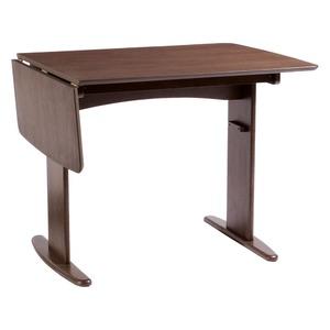 伸長式ダイニングテーブル/バタフライテーブル 【幅90cm/120cm】 ブラウン 木製 スライドタイプ