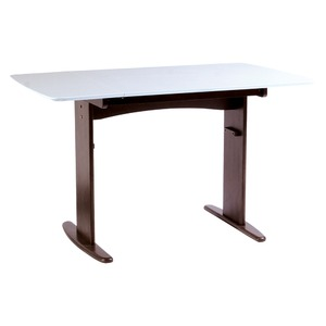 【単品】伸長式ダイニングテーブル/バタフライテーブル 【幅90cm/120cm】 ホワイト 『バター2』 木製 スライドタイプ - 拡大画像